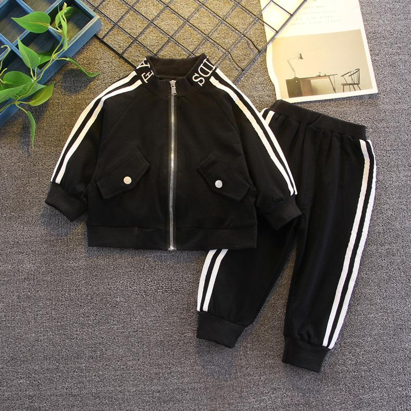 2-piece Sporty Striped Coat & Pants for Toddler Boy