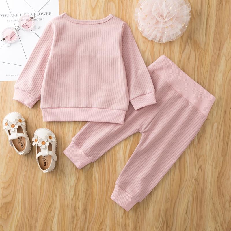 2-piece Rabbit Pattern Sweatshirt & Pants for Baby Girl