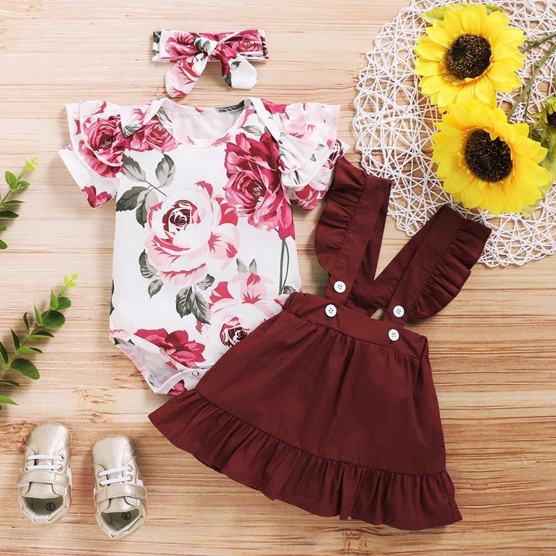 Pretty Floral Ruffled Bodysuit, Suspender Skirt with Headband Set