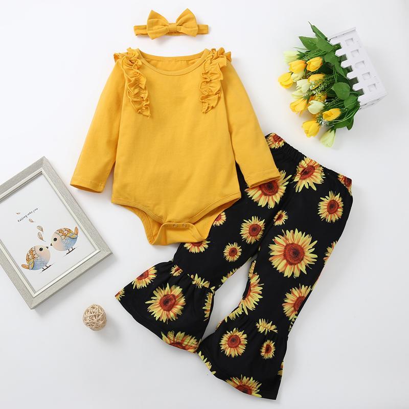 3-piece Ruffle Romper & Headband & Sunflower Pattern Pants for Baby Girl