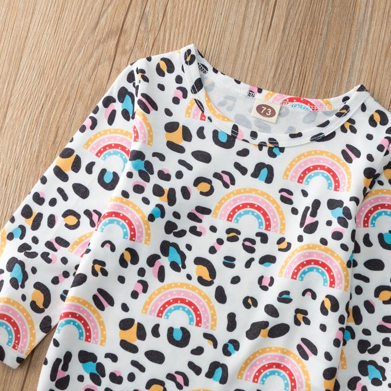 2-piece Rainbow Pattern Long-sleeve & Bib Pants for Baby Girl