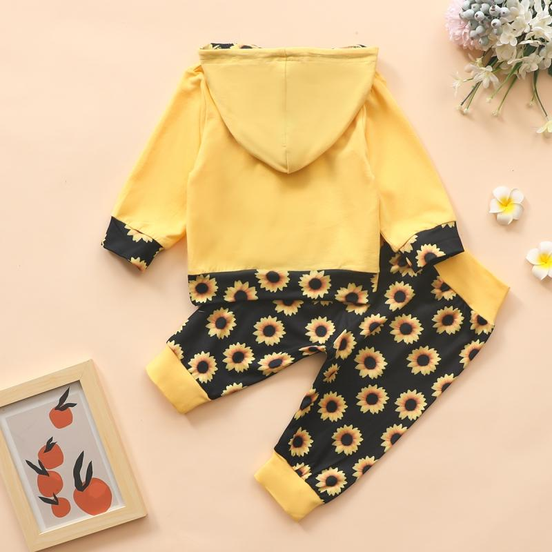 2-piece Hoodie & Sunflower Pattern Pants for Baby Girl