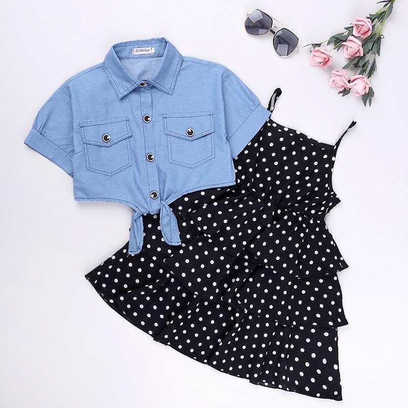 2-piece Denim Tops & Sling Polka Dot Layered Dress for Girl