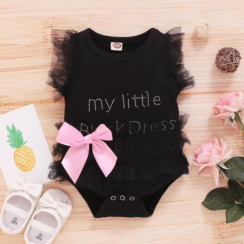 Pretty Letter Lace Ruffled-sleeve Bodysuit with Cute Bowknot