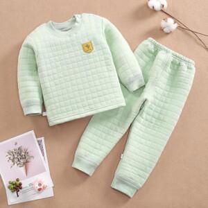2-piece Plaid Thick Pajamas Sets for Toddler Boy