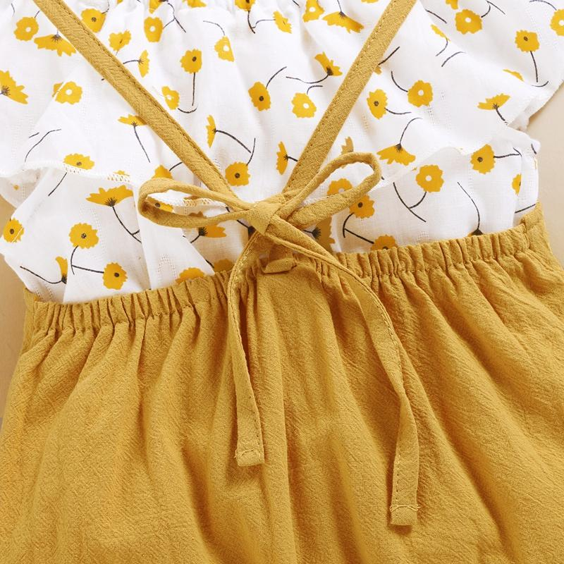 2-piece Floral Printed Blouse & Dungarees for Toddler Girl