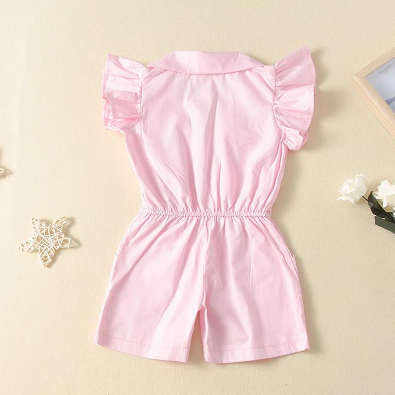 Fashionable lapel jumpsuit for Toddler Girl
