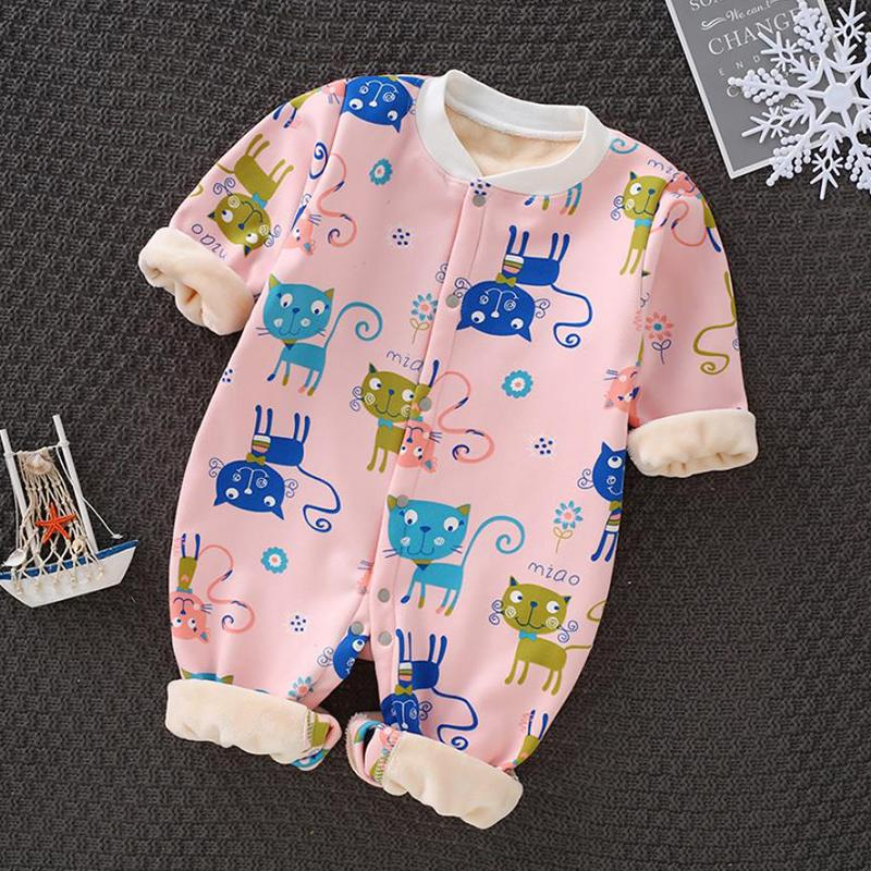 Fleece-lined Cat Pattern Jumpsuit for Baby