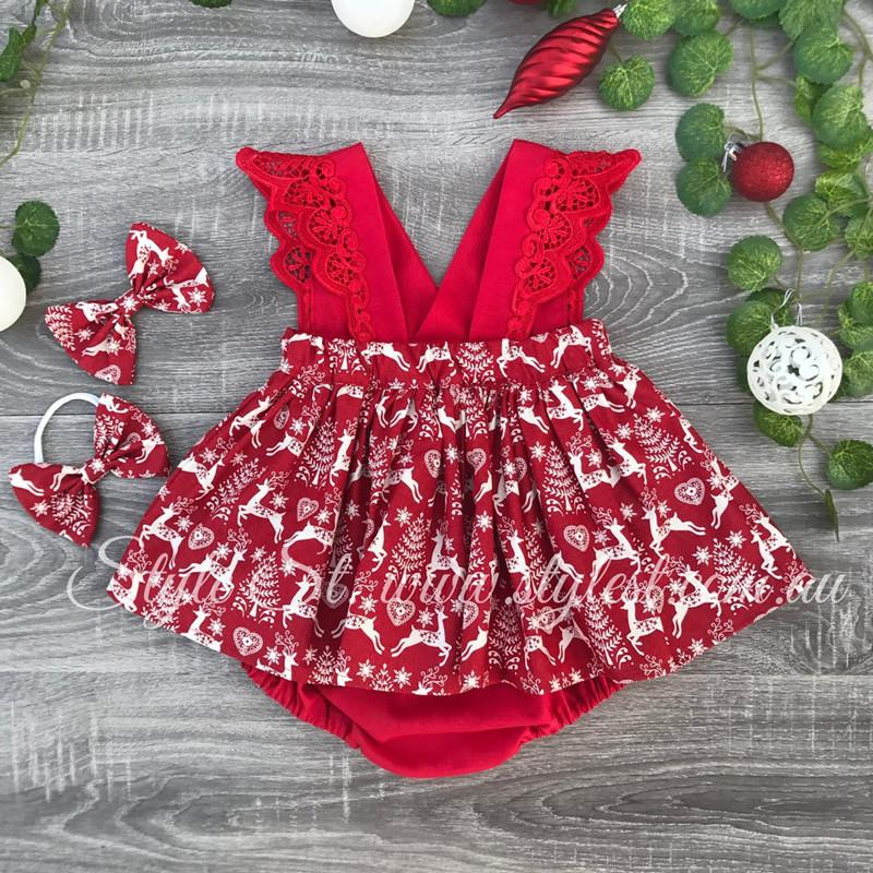 2-piece Christmas Deer Pattern Dress & Headband for Baby Girl
