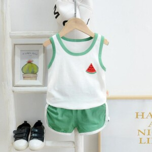 2pcs Cute Fruit Print Vest and Pants