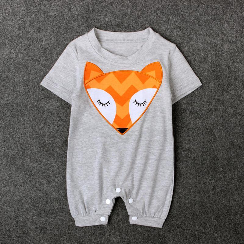 Cartoon Fox Print Baby Jumpsuits