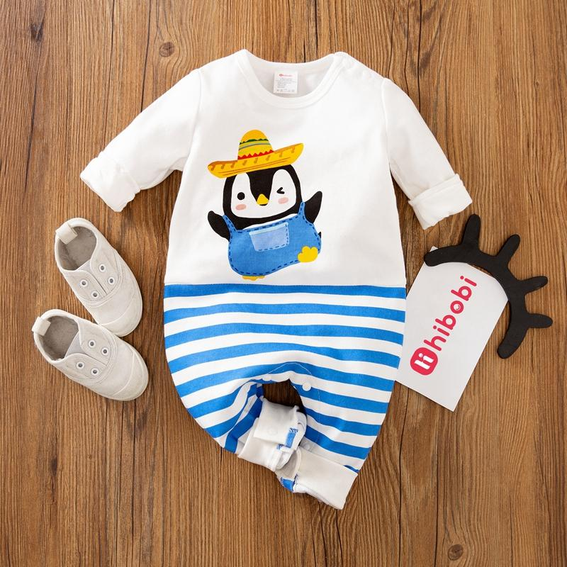 Cartoon Penguin Stripe Jumpsuit for Baby
