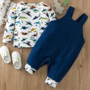 2-piece Dinosaur Pattern Long Sleeve T-shirt & Bib Pants for Baby