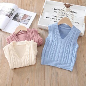 Solid Knitted Sweater for Toddler Boy