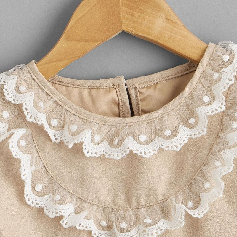 Lace Ruffle Suede Dress for Baby Girl