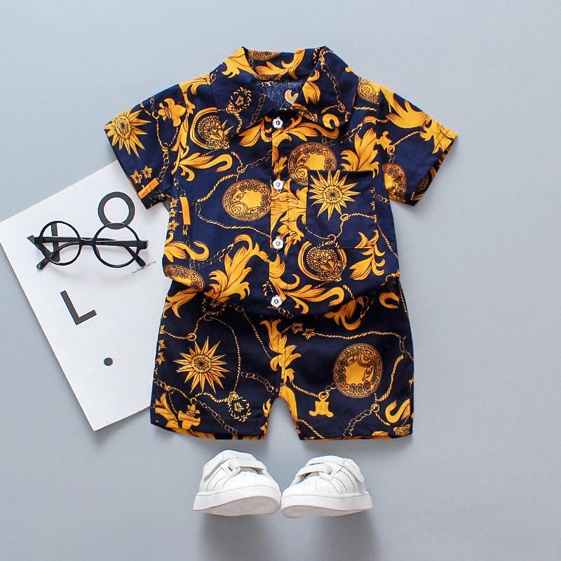2pcs Fashion Floral Shirt and Shorts Pants