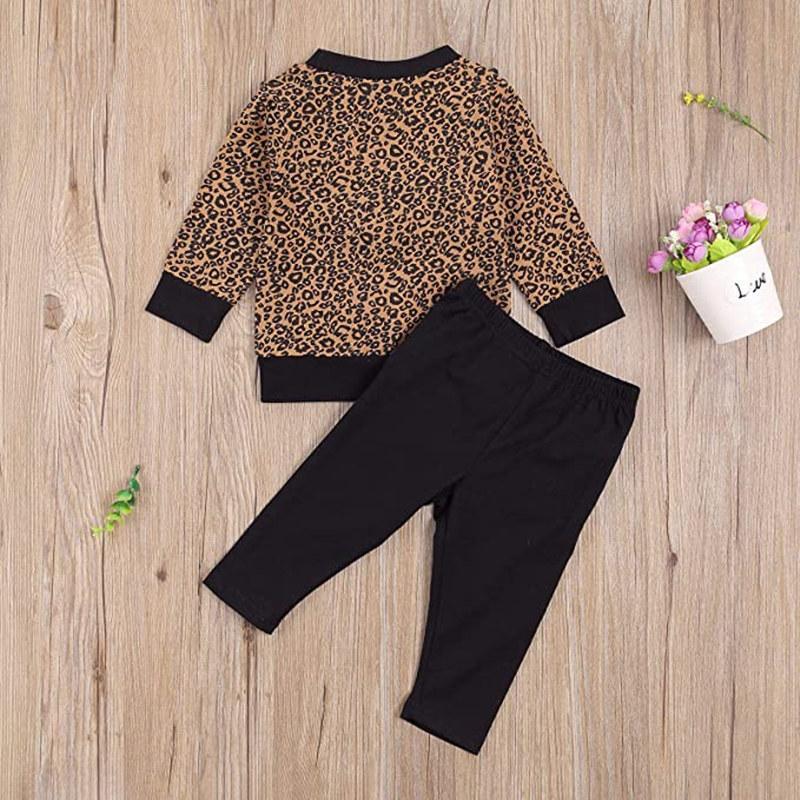 2-piece Ruffle Leopard Sweatshirts & Pants for Baby Girl