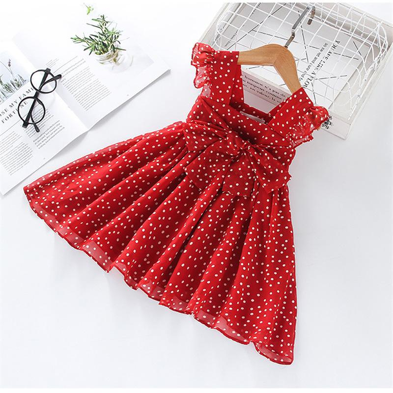 Ruffle Bow Decor Polka Dot Pleated Dress for Toddler Girl