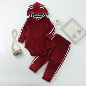 2-piece Velet Hooded Romper & Pants for Baby Boy