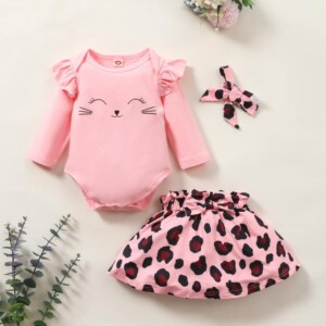 3-piece Ruffle Romper & Headband & Leopard Skirt for Baby Girl