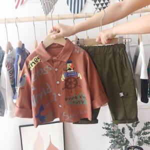 2-piece Pirate Pattern Shirt & Pants for Toddler Boy