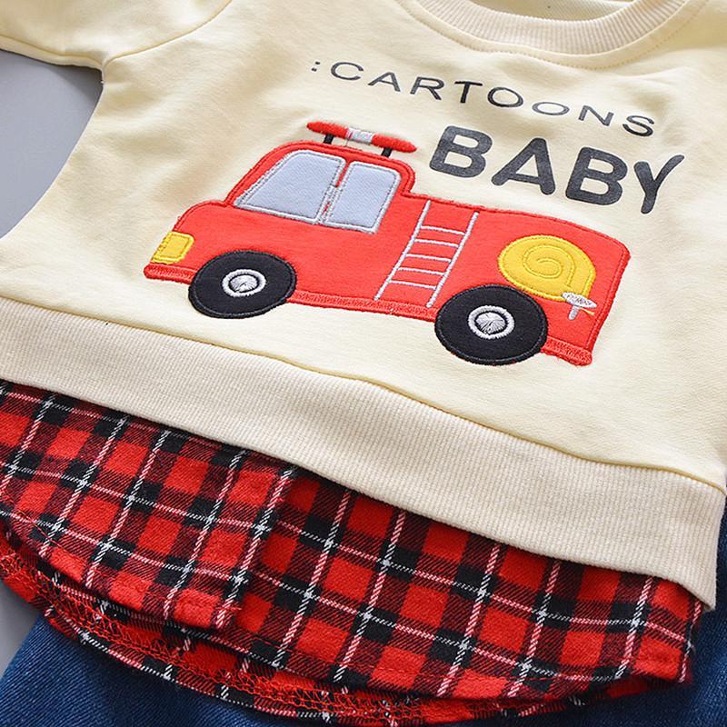 2-piece Fire Truck Pattern Sweatshirts & Pants for Toddler Boy