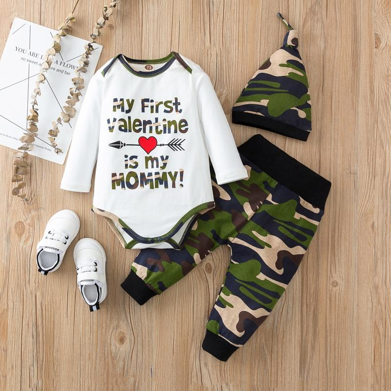 3-piece Romper & Hat & Camouflage Pants for Baby