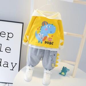 2-piece Dinosaur Pattern Hoodie & Pants for Toddler