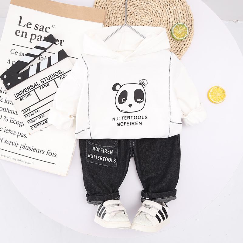 2-piece Panda Pattern Hoodie & Pants for Toddler Boy