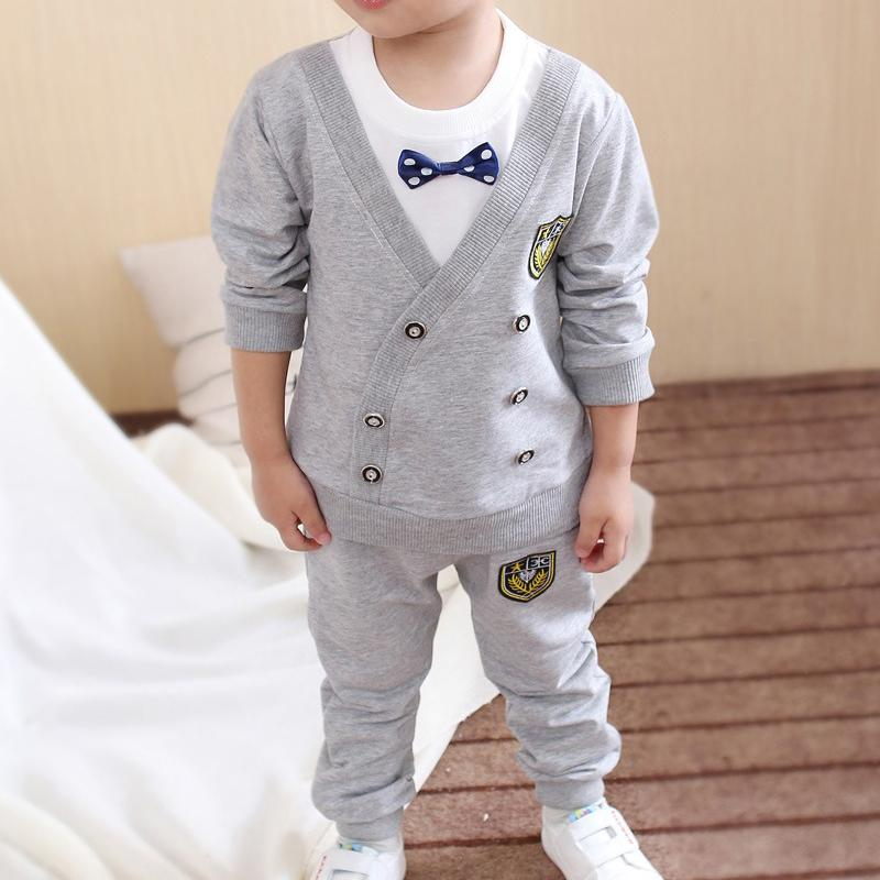2-piece Bowknot Sweatshirt & Pants for Toddler Boy