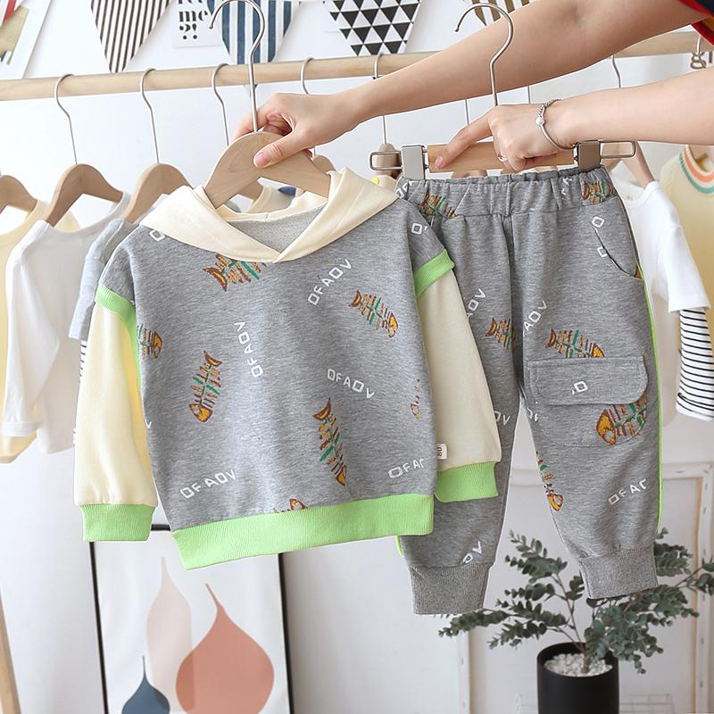 2-piece Fish Pattern Hoodie & Pants for Toddler Boy