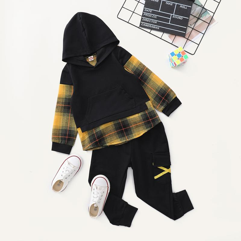 2-piece Plaid Hoodie & Pants for Toddler