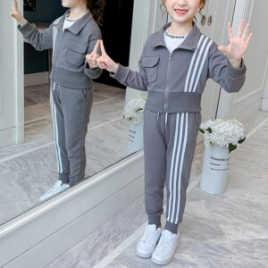 2-piece Stripes Coat & Pants for Girl