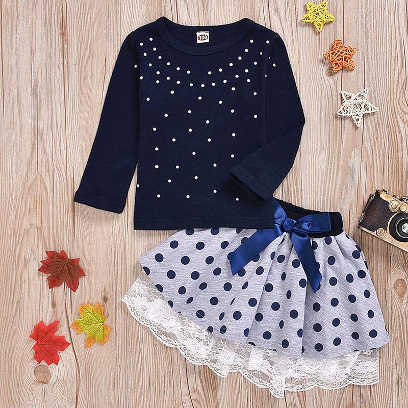2-piece Polka dot Dress Set for Toddler Girl