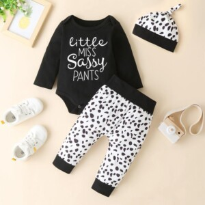 3-piece Romper & Leopard Hat & Leopard Pants for Baby