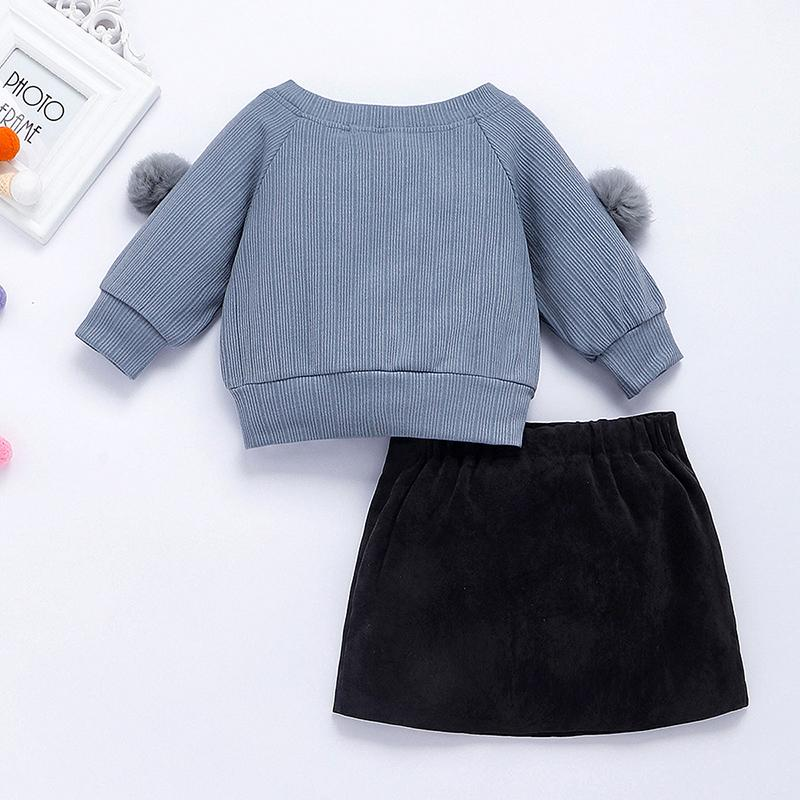 2-piece Plush Ball Sweater & Skirt for Toddler Girl