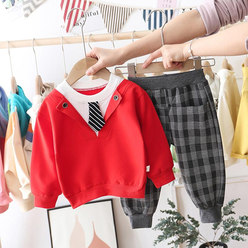 2-piece Tie Sweatshirts & Plaid Pants for Toddler Boy