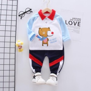 2-piece Bear Pattern Polo Shirt & Pants for Toddler Boy
