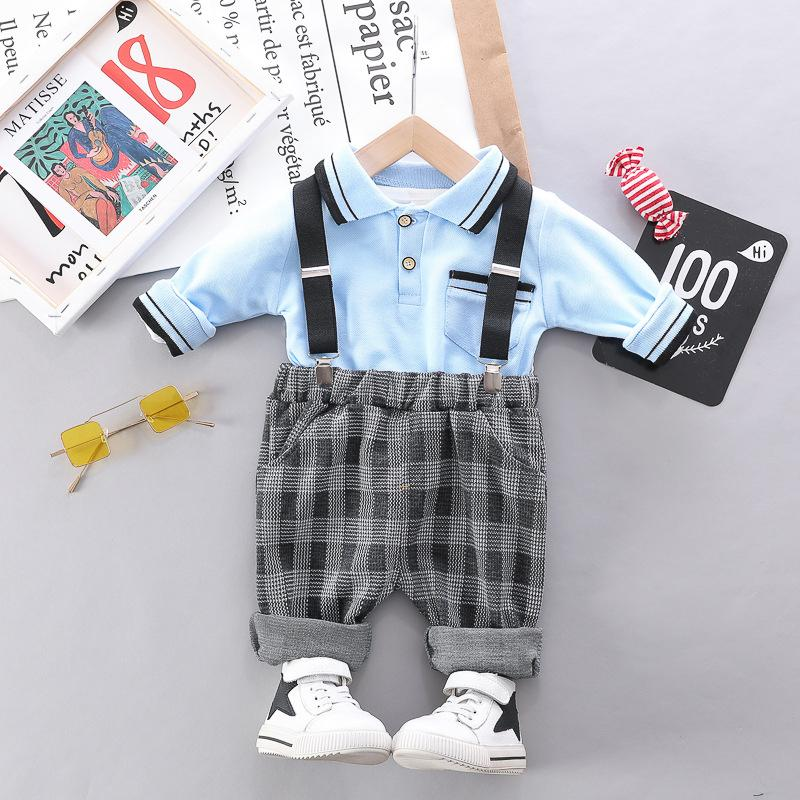 2-piece Long Sleeve Polo Shirt & Plaid Pants for Toddler Boy