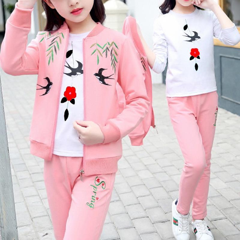 3-piece Swallow Pattern Coat & Sweatshirt & Pants for Girl