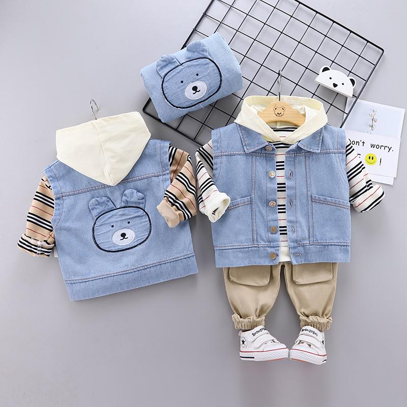 3-piece Bear Pattern Vest & Striped Hoodie & Pants for Toddler Boy