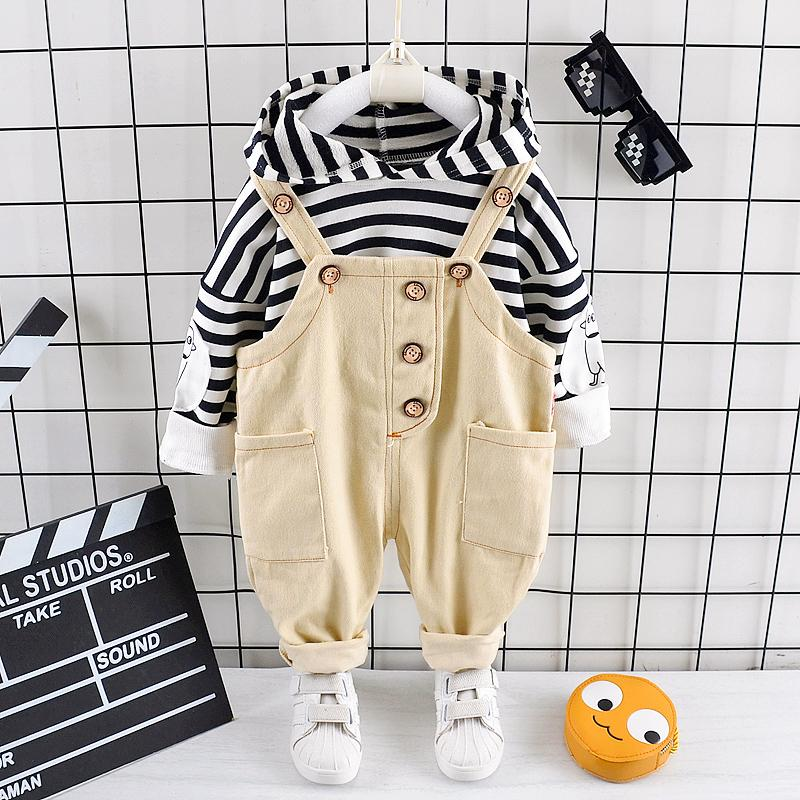 2-piece Striped Hoodie & Braces for Toddler Boy