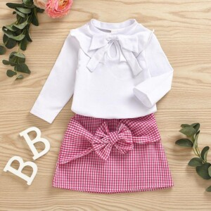 2-piece Bowknot Dress Set for Toddler Girl
