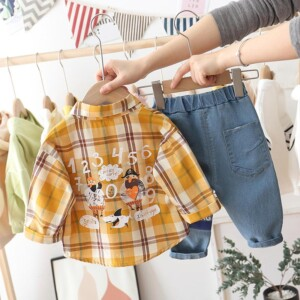 2-piece Plaid Shirt & Pants for Toddler Boy