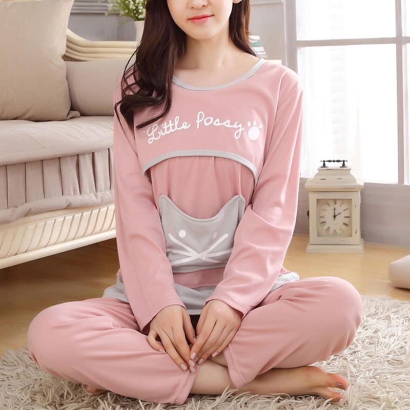 Cartoon Print Long-sleeve Nursing Pajamas Set