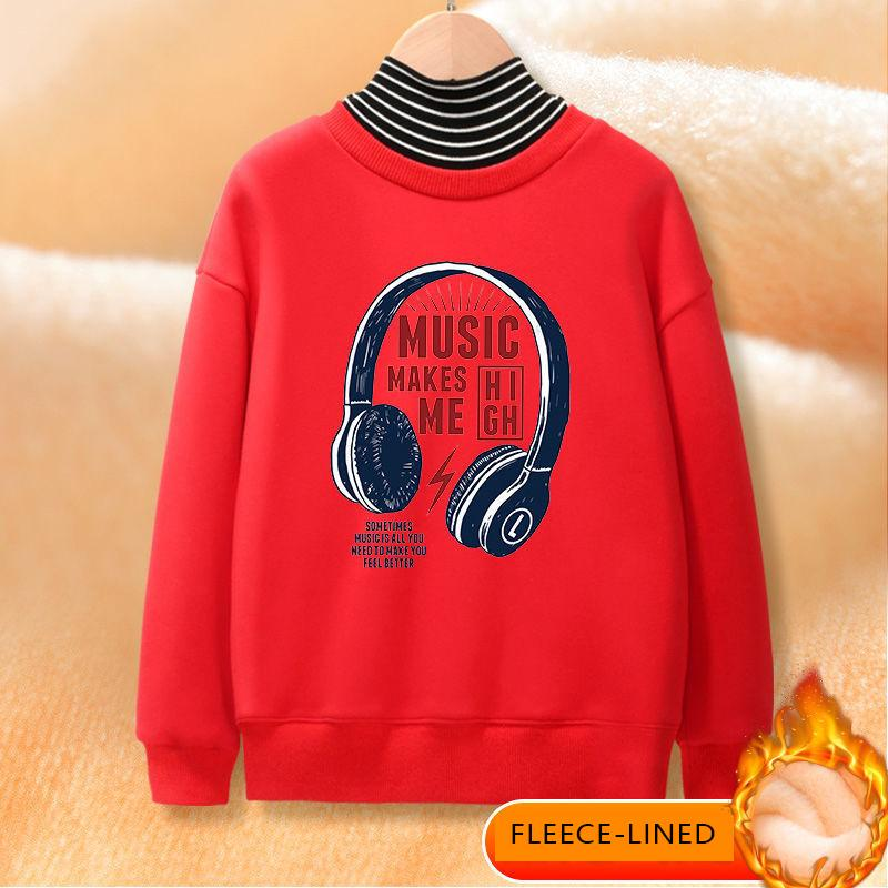 Fleece-lined Turtleneck Sweatshirts for Boy