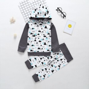 2-piece Geometric Pattern Hoodie & Pants for Baby
