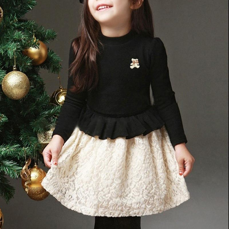 Bear Pattern Lace stitched Dress for Toddler Girl