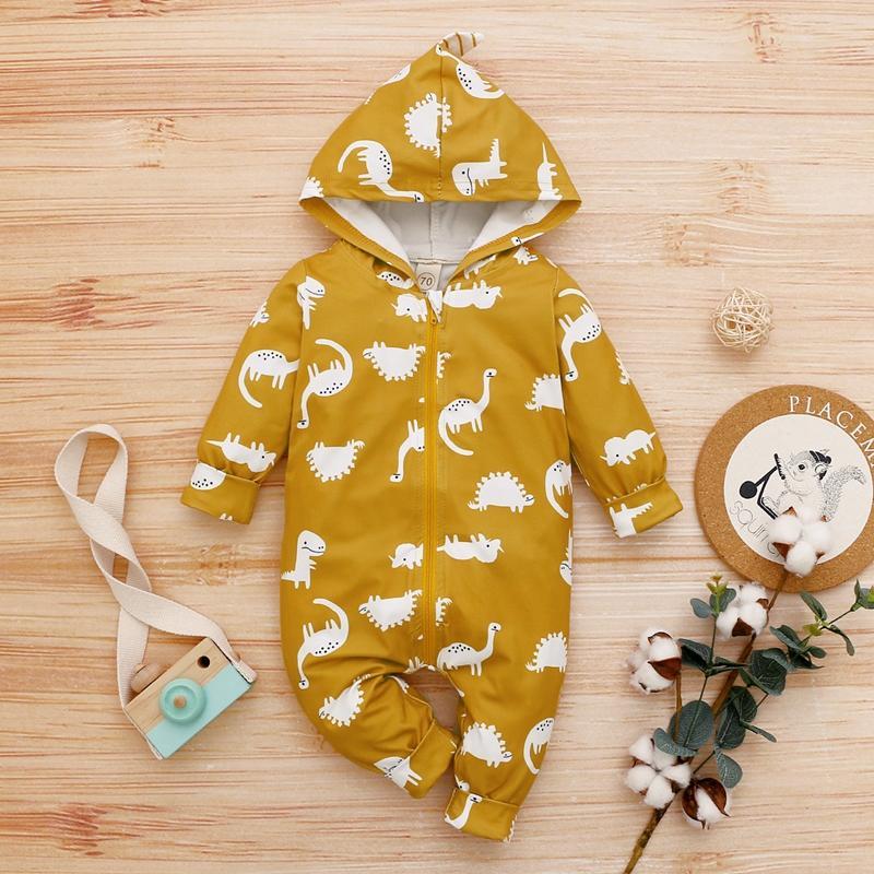 Dinosaur Print Zipper Jumpsuit for Baby