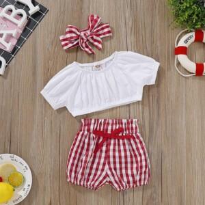 3-piece T-shirt & Headband & Plaid Shorts for Baby Girl